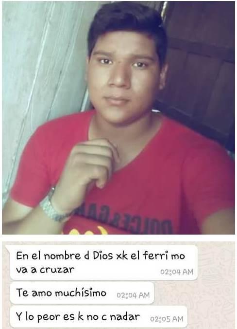 El último mensaje enviado por Jason Aquino a su novia, en Sayaxché, Petén, fue para decirle que la amaba y que cruzaría el río. (Foto Prensa Libre: Cortesía)