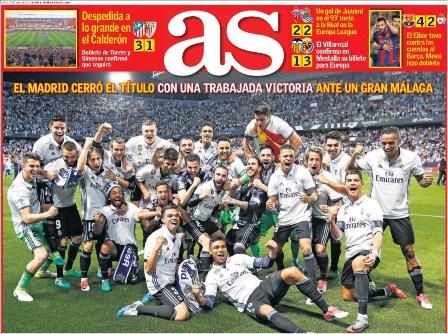 Los diarios deportivos españoles destacaron la consecución del título del Real Madrid. (Foto Prensa Libre: Kiosko.net).