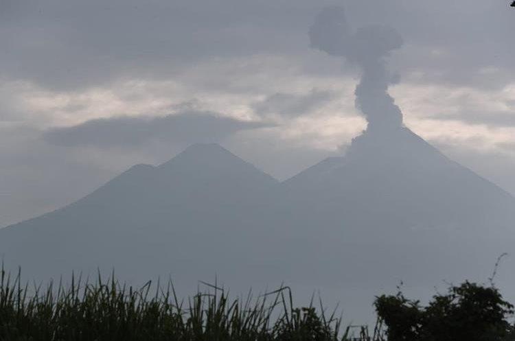 Las columnas de ceniza del Volcán de Fuego han alcanzado los cinco mil metros sobre el nivel del mar. (Foto Prensa Libre: Álvaro Interiano)