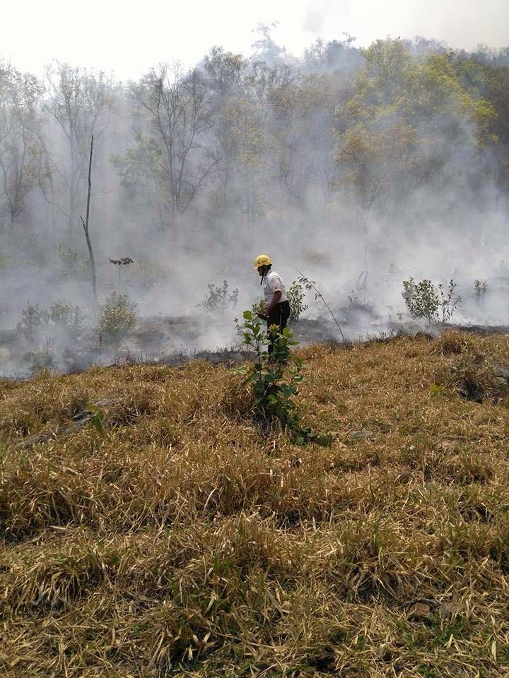 Incendio forestal se reactiva en San Cristóbal Acasaguastlán, en El Progreso. Socorristas trabajan en el área desde este domingo. (Foto Prensa Libre: Hugo Oliva).