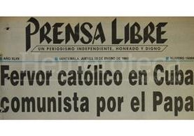 Titular del 22 de enero de 1998 informando sobre la visita de Juan Pablo II a Cuba. (Foto: Hemeroteca PL)