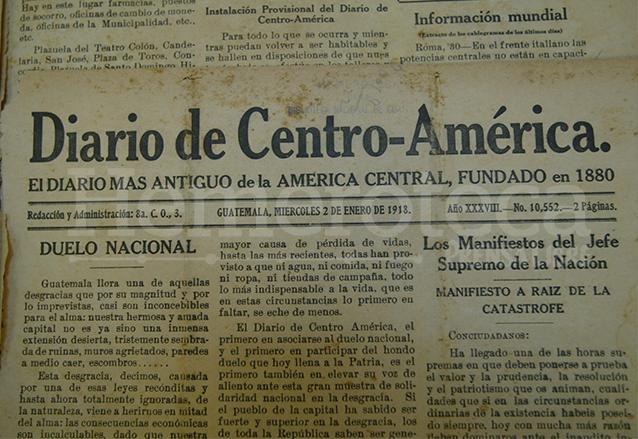 La edición del Diario de Centro América del miércoles 2 de enero de 1918 informaba sobre los primeros temblores ocurridos el 25 de diciembre. (Foto: Hemeroteca PL)