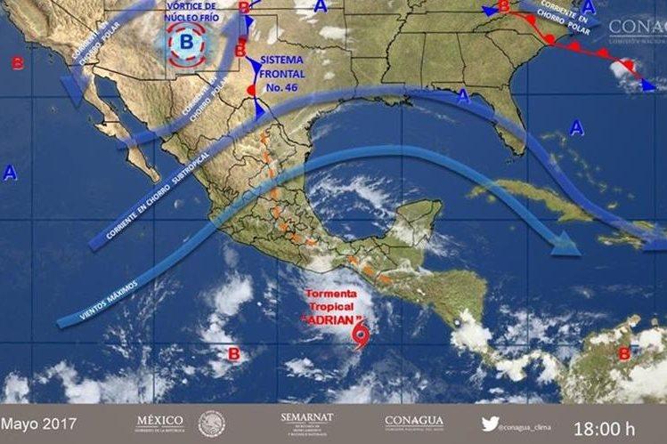Adrián, como se le denominó a la depresión, se desarrolló seis días antes del inicio de la temporada oficial de ciclones en el Pacífico. (Foto Prensa Libre: @conagua_clima)