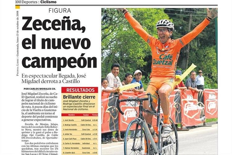 Migdael Zeceña levanta los brazos al ganar el título de campeón nacional de ruta, el 13/10/2008. (Foto: hemeroteca PL)
