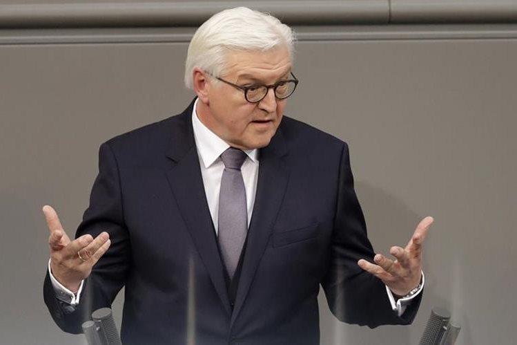 Frank-Walter Steinmeier, el presidente alemán, durante su disertación en la asamblea del Congreso. (Foto Prensa Libre: AP)