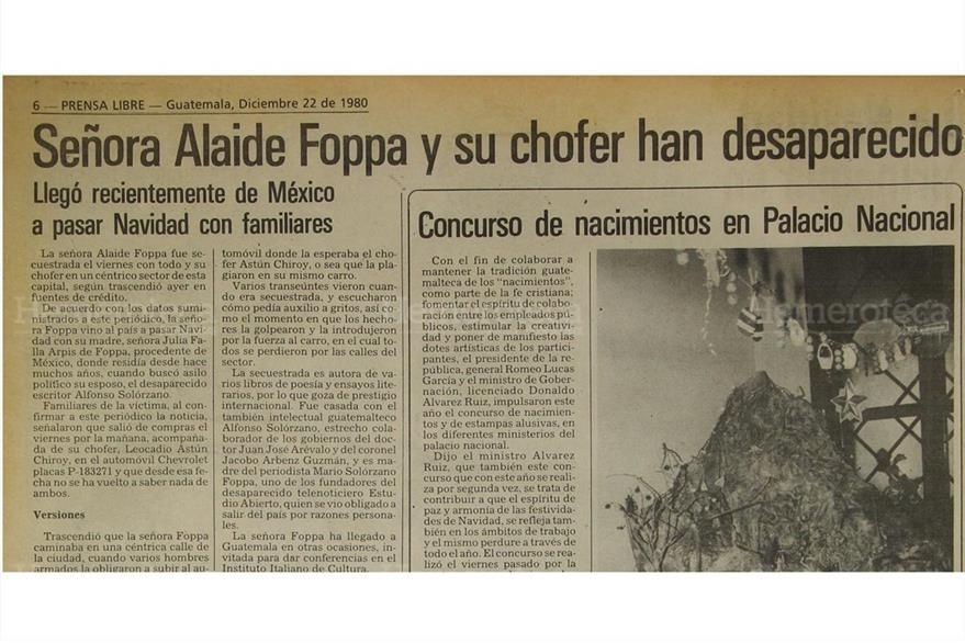La escritora Alaéde Foppa es secuestrada junto a su chofer el 22/12/1980, durante el conflicto armado interno. (Foto: Hemeroteca PL)