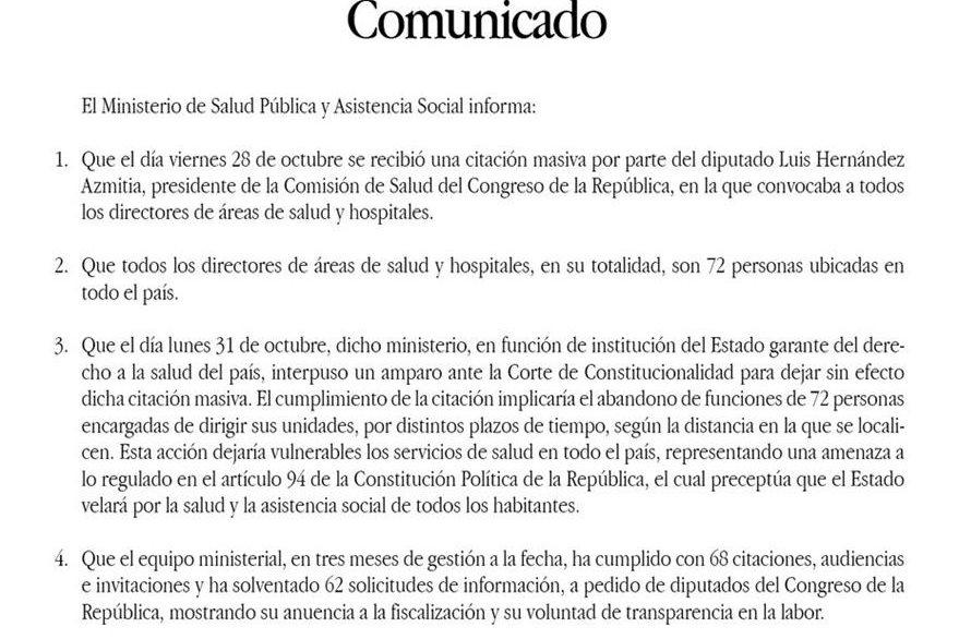 El Ministerio de Salud divulgó que el 31 de octubre accionó en la CC contra la citación masiva. (Foto, Prensa Libre: @MinsaludGuate)