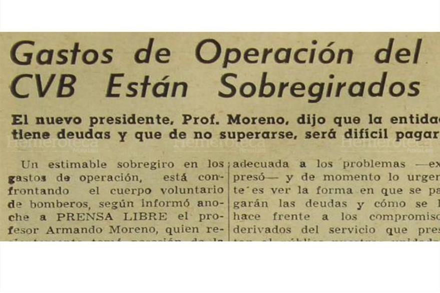 Armando Moreno informó el 7/1/1965 sobre la difícil situación financiera de los Bomberos Voluntarios. (Foto: Hemeroteca PL)