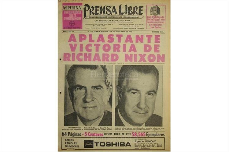 Portada de Prensa Libre del 8/11/72, con el triunfo de Richard Nixon. (Foto: Hemeroteca PL)