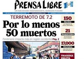 Portada de Prensa Libre del 8/11/2012 informaba sobre la intensidad y daños del terremoto en San Marcos. (Foto: Hemeroteca PL)