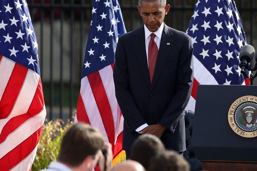 Minuto de silencio presidido por el presidente Barack Obama. (AFP)