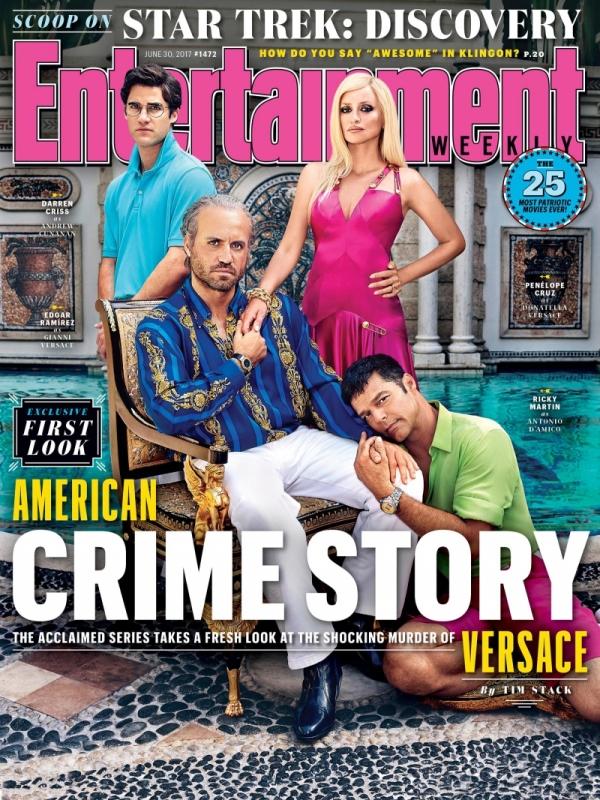 Ricky Martin apareció en la portada de la revista Entertainment Weekly dedicada a la serie American Crime Story sobre el asesinato de Versace. (Foto Prensa Libre:  Entertainment Weekly)