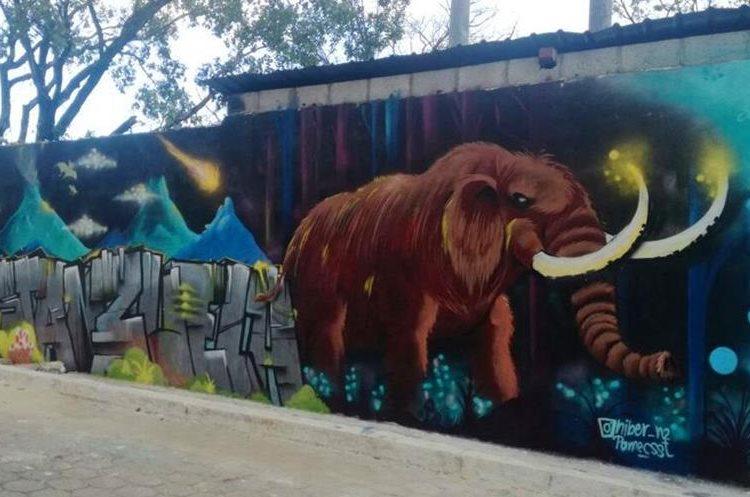 Imagen de Mamut en uno de los murales