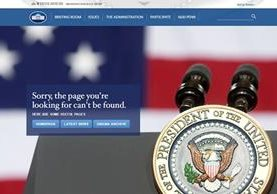 """""""Disculpe, la página que está buscando no puede encontrarse"""" se lee, en inglés, al ingresar al sitio whitehouse.gov/espanol."""