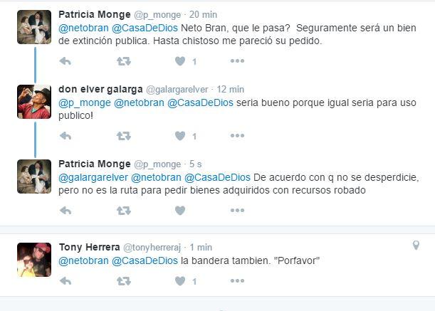 Usuarios responden en Twitter a Neto Bran, quien pide a Casa de Dios que le donen el asta que entregarán al MP.
