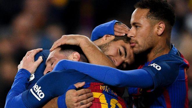 Neymar, Suárez y Messi forman el ataque de lujo del Barcelona. Los clubes españoles han ganado el 50% de los títulos en el fútbol europeo desde el año 2000. (Getty Images)