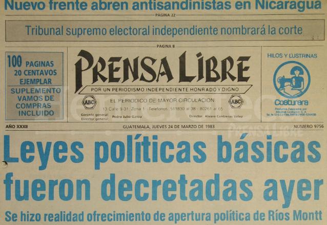 El jefe de Estado de facto, Efraín Ríos Montt promulgó leyes electorales entre ellas la de la creación del Tribunal Supremo Electoral. Portada de Prensa Libre del 24 de marzo de 1983. (Foto: Hemeroteca PL)