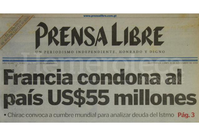 Titular de Prensa Libre del 16/11/1998. (Foto: Hemeroteca PL)