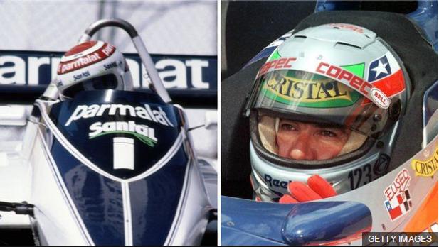 Nelson Piquet (izquierda) ganó tres campeonatos mundiales de F1, mientras Salazar acumuló sólo tres puntos en su carrera