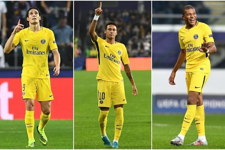 Edinson Cavani, Neymar Jr. y Kilyan Mbappé conforman el tridente a temer en la Champions League. (Foto Prensa Libre: AFP)