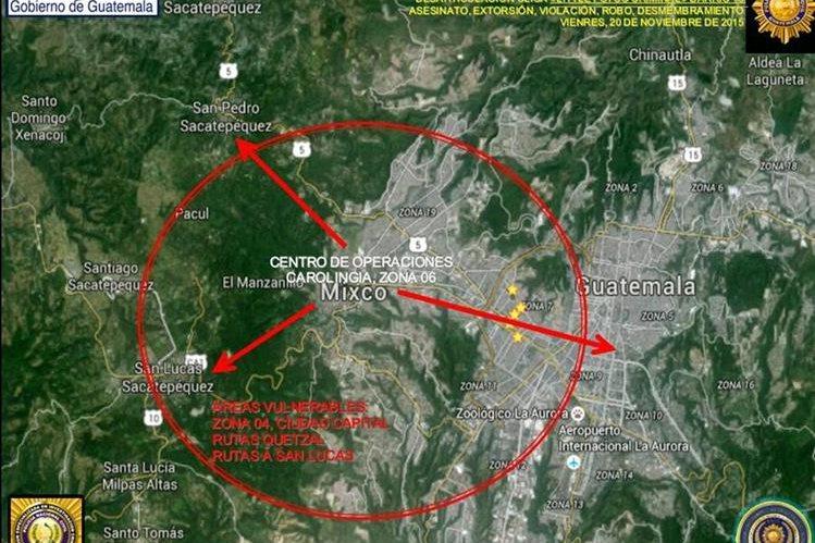 Área de operaciones de la banda Little Psyco Criminal identificada por la Policía Nacional Civil. (Foto Prensa Libre: PNC)