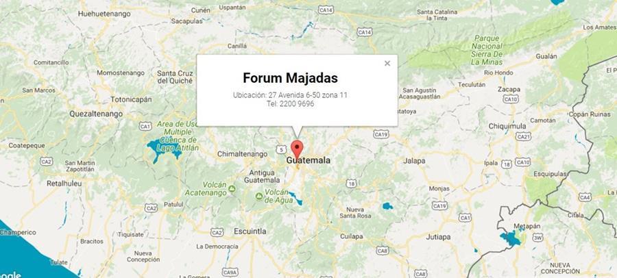 Mapa de ubicación de Forum Majadas, donde se efectuará la Filgua 2017. (Foto Prensa Libre)