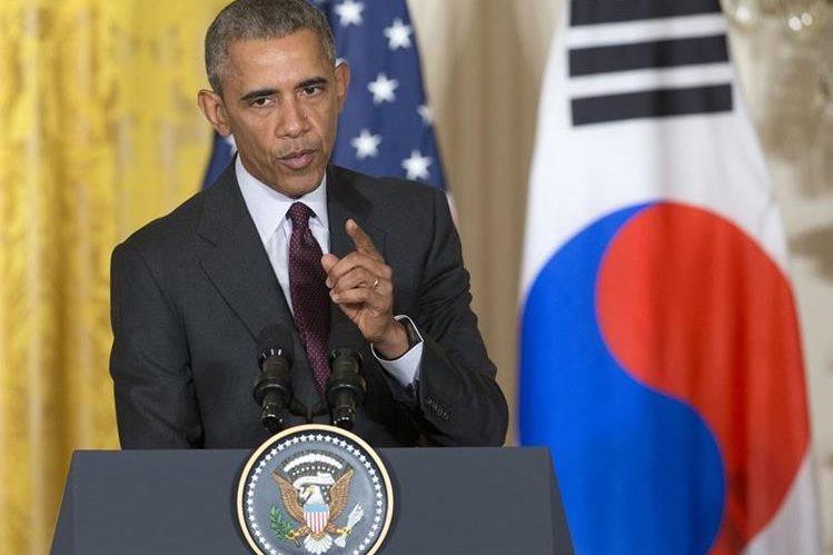 El presidente de EE. UU. , Barack Obama, durante la conferencia de prensa.(Foto Prensa Libre: AP).