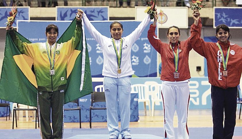 La guatemalteca Cheili González medalla de oro en -53 kilogramos, en los Juegos Panamericanos. (Foto Hemeroteca PL).