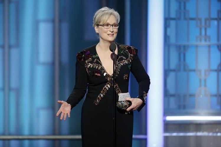 Meryl Streep recibió el premio Cecil B.De Mille a su trayectoria en la gala de los Globos de Oro. (Foto Prensa Libre: AP)
