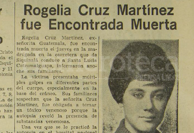 Nota de Prensa Libre del 13 de enero de 1968 informando sobre el hallazgo del cuerpo de Rogelia Cruz, desaparecida desde dos días atrás. (Foto: Hemeroteca PL)