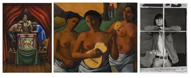 """De izquierda a derecha: """"Títeres"""" (1933), de Antonio Ruiz, """"El Corzo"""". """"Mujeres"""", (1943), de Cordelia Urueta, y fotografía de Graciela Iturbide al artista José Luis Cuevas, (ca. 1969). (Fotos: Colección Femsa)."""