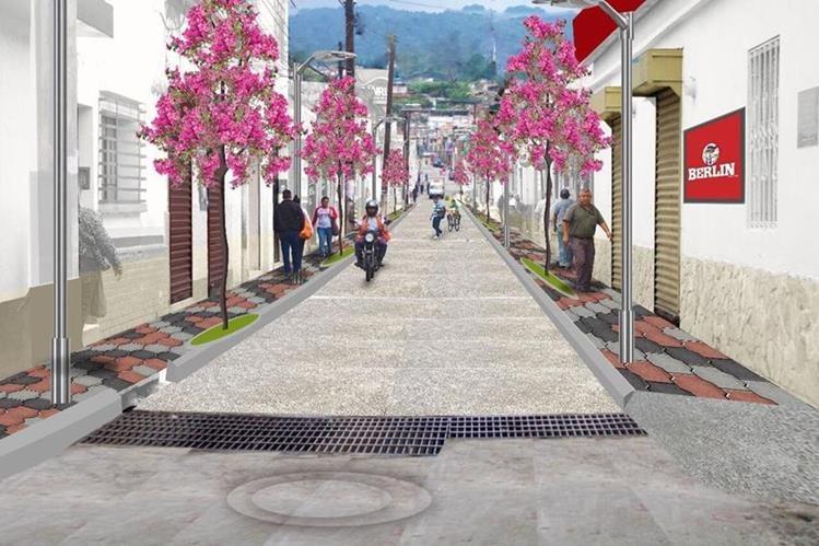 Esta es la maqueta que muestra cómo quedará la Calle Real de Mixco. (Foto: Municipalidad de Mixco)
