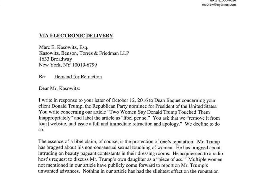 Esta es la carta que el New York Times envió a los abogados de Donald Trump, donde se les dice que no pulicarán una disculpa.
