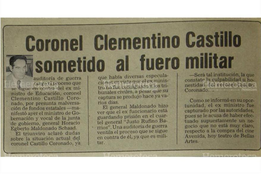 Coronel Clementino Castillo fue sometido al fuero militar acusado de malversar fondos del Estado cuando fungió como ministro de educación, 08/06/1982. (Foto Hemeroteca PL)