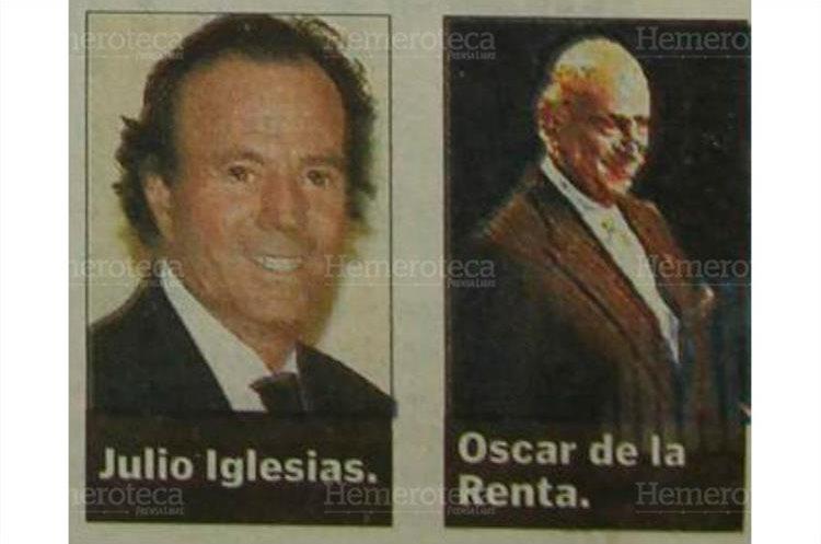 Entre los pasajeros que utilizaron el avión presidencial se encontraban el cantautor español Julio Iglesias y el modisto Oscar de la Renta. (Foto: Hemeroteca PL)