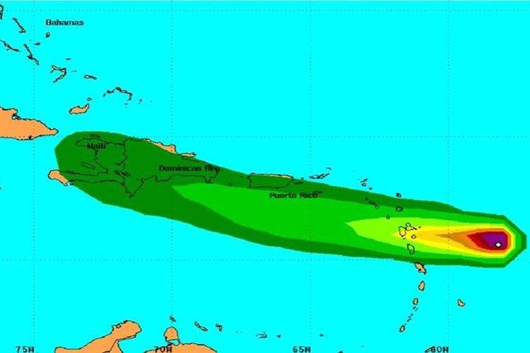 Ubicación de la tormenta tropical Danny.