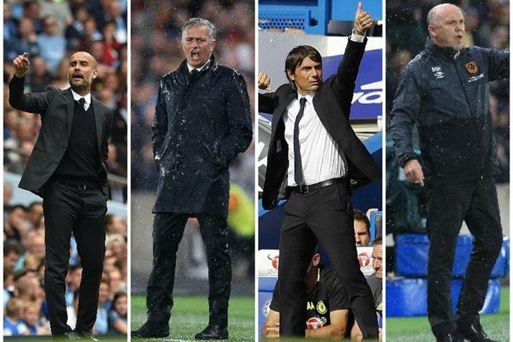 Guardiola, Mourinho, Conté y Phelan aspiran al técnico del mes de la liga inglesa. (Foto Prensa Libre: Agencias)