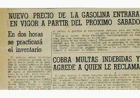 Nota del 26 de julio de 1954, sobre precio de carburante. (Foto: Hemeroteca PL)