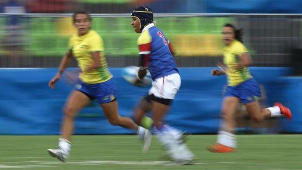Nathalie Marchino jugó con la selección de Colombia en el torneo de rugby 7. Tiene un empleo de mercadeo en Twitter, en California. (Getty)