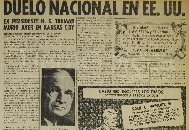 Nota del 27/12/1972 sobre la muerte de Harry Truman. (Foto: Hemeroteca PL)