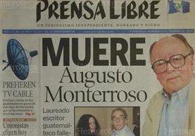 Portada de Prensa Libre del 9/2/2003 que daba a conocer la muerte del escritor guatemalteco Tito Monterroso. ( Foto: Hemeroteca PL)