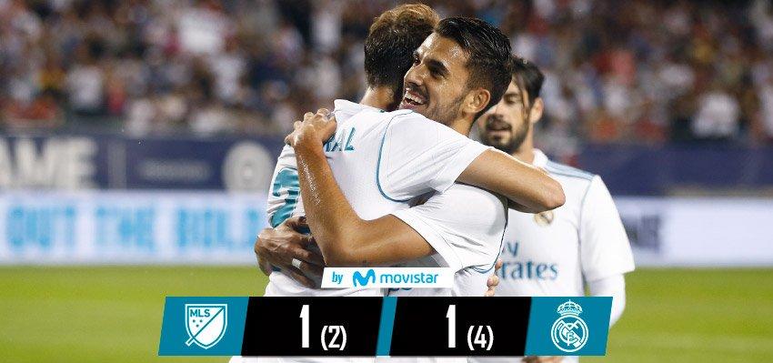 El Real Madrid festejó en su gira en Estados Unidos. (Foto Prensa Libre: Twitter @realmadrid)