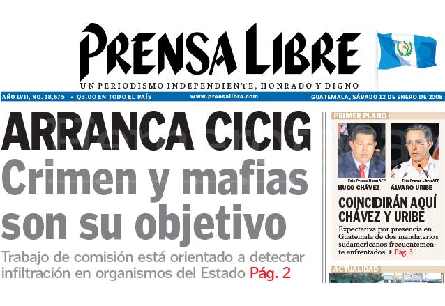 Titular de Prensa Libre del 12 de enero de 2008 destacando el inicio de labores de la Cicig. (Foto: Hemeroteca PL)