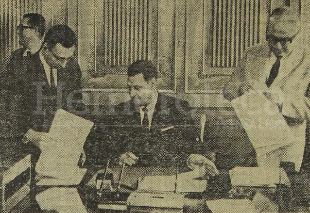 Óscar Castañeda Fernández, ministro de Comunicaciones de Méndez Montenegro, en una foto de 1966. (Foto: Hemeroteca PL)