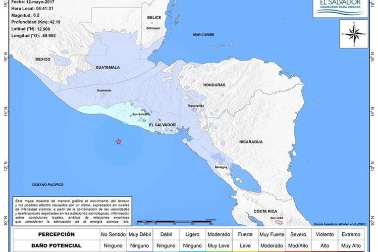 Mapa de intensidad del sismo ocurrido a las 4.41 horas. (Foto Prensa Libre: @MARN_SV)