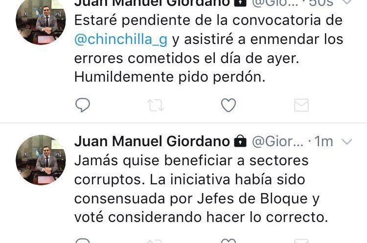 El diputado Juan Manuel Giordano publicó un mensaje en sus redes sociales. (Foto Prensa Libre: Twitter)