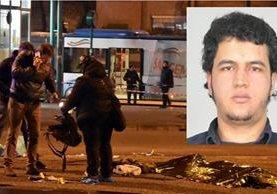 Policías trabajan junto al cuerpo sin vida del tunecino Anis Amri(foto inserto), tras ser abatido en Milán. (Foto Prensa Libre: AP)