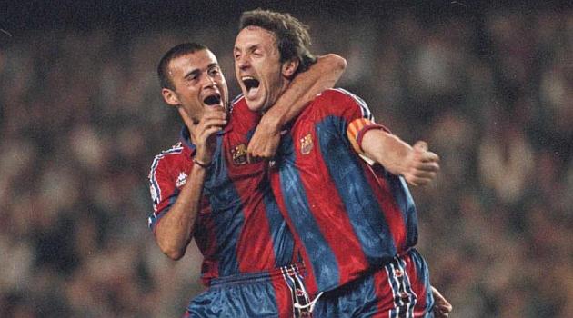 Popescu en su etapa como jugador del FC Barcelona junto a Luis Enrique, actual entrenador del equipo catalán. (Foto Prensa Libre: Hemeroteca)