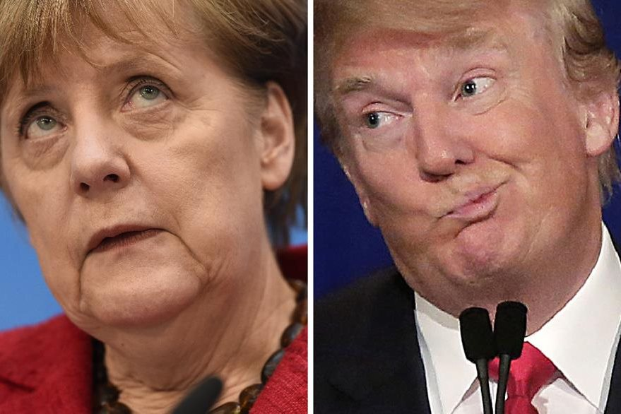 La canciller alemana Ángela Merkel (a la izq.) responde a críticas del presidente electo de EE. UU., Donald Trump. (Foto Prensa Libre: AFP).