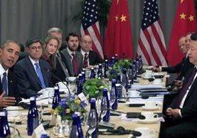Los presidentes de las naciones más poderosas, durante la reunión.